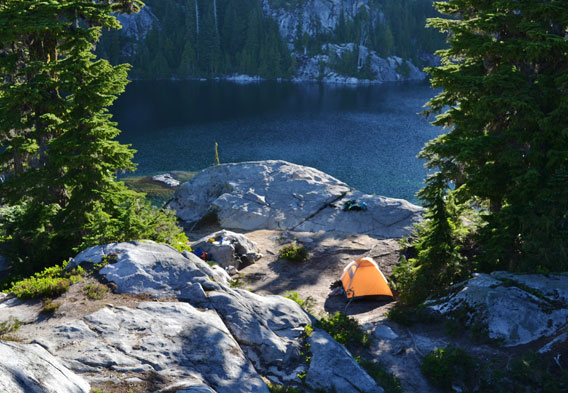 Campsites at Tuck and Robin Lakes